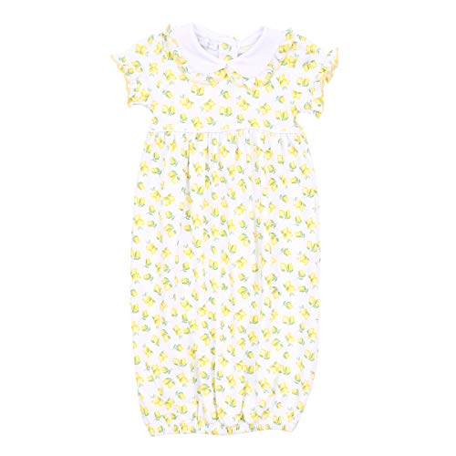Magnolia Baby Unisex Baby Make Lemonade Printed Collared Short Sleeve Gathered Gown Yellow Small
