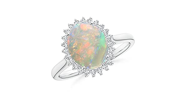 Angara Vintage Diamond Floral Halo Cabochon Opal Cocktail Ring in Platinum