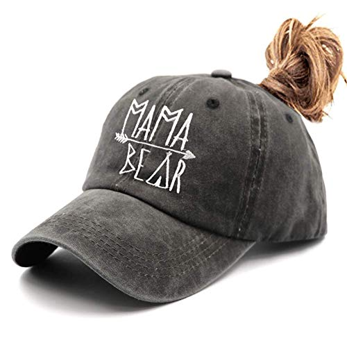 Waldeal Embroidered Ponytail Mama Bear Vintage Distressed Baseball Dad Hats Adjustable Ponycaps Demin Cap Mom Gift