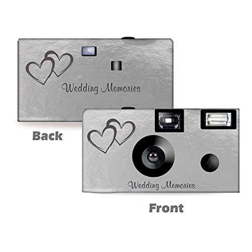 5 Silver Foil Coupled Hearts Wedding Disposable Cameras, Anniversary, Single use, Flash WM-50146-C