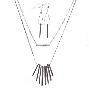 Layering Necklace Clavicle and Chic Convertible Earrings Silver Plated with Crystal for Women