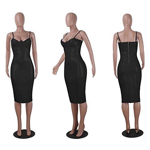 Arrire Clubwear Manches Sans Mini En Similicuir Noir Femme Robe Robe Zipp Moulante zwqgn0Yv