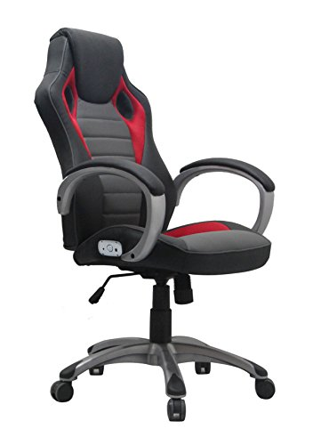 X Rocker 0778401 Executive Office Chair with Battery 2.0 wireless Bluetooth Audio, Black/Silver/Red