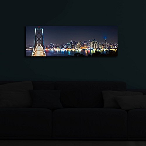 Led Lighted Inside Canvas Wall Art - Beautiful City and...