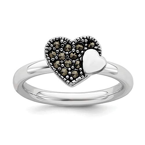 925 Sterling Silver Marcasite Heart Band Ring Size 6.00 S/love Stackable Gemstone Fine Jewelry Gifts For Women For Her ()
