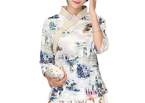 Imprim Blouse Tang de avec 3 Veste ACVIP Bleu Hanfu Manche Femme Paysages 4 CwtqIIX1