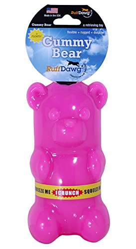 (Ruff Dawg Gummy Bear Crunch Rubber Dog Toy Assorted Neon Colors)