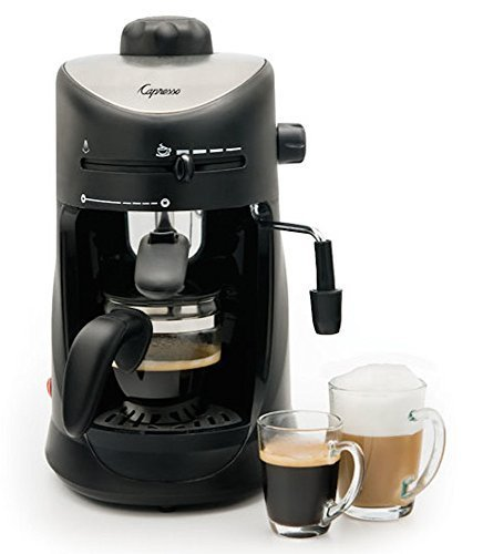 Premium 4 Cup Espresso & Cappuccino Machine, Black Finish with Stainless Steel Accents, Home Kitchen Small Appliances by Capresso