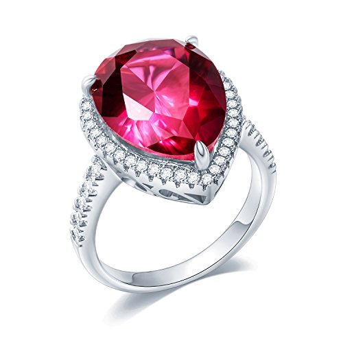 (Sego Alchemy Pear Cut Ruby AAA Cubic Zirconia Stone Sterling Silver-Plated Bronze Base Engagement Wedding Ring Promise Ring Rings for Women Size 8)