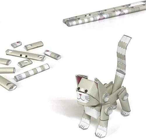 パイプロイド(PIPEROID) アニマルズ 猫 シリーズ 白猫 - 小学生 から 大人まで 楽しめる 紙工作 クラフトキット