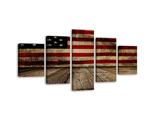 (5 Piece Vintage American Flag Painting on Canvas Soldier Hold Gun Wall Art Independence Day Artwork USA Home Decor Pictures for Living Room Poster and Prints Framed Ready to Hang (60''W x 32''H))