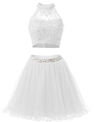 Prom Bodice Two 2 Dresses Style Homecoming Ivory Short BD134 Beads Lace Piece Dresses BessDress qAdwt8t