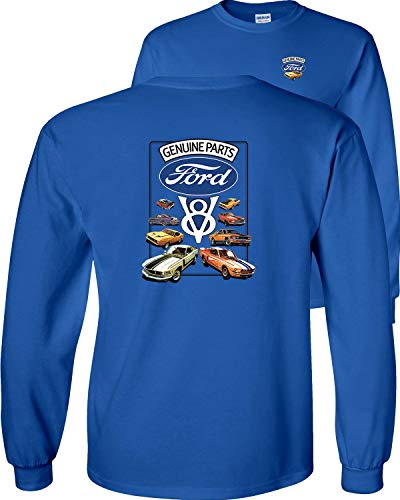 Fair Game Ford Genuine Parts V8 Mustangs Long Sleeve T-Shirt-Royal Blue-2x (Ford Flathead V8 Crate Engine For Sale)