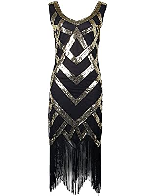 celeblink Women's 1920s Dress Sequin Fringed Flapper Gatsby Cocktail Dress
