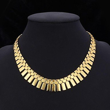 Men's Bib Necklace Choker Statement Necklace 18K Real Gold Platinum Plated Pendants Jewelry For Women Long Chains 46CM