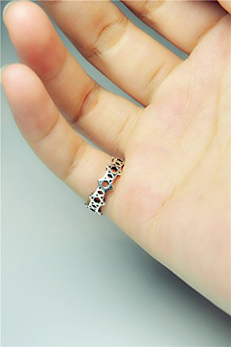 Generic Hexagram 925 Thai silver rings women girls lady tail ring opening joint minimalist small fresh girlfriends personality Korea retro by Generic