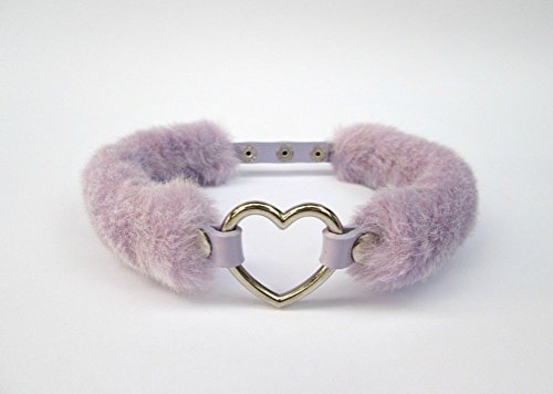 Kawaii Heart Choker, DDLG Collar, Faux Fur Choker, Furry Pastel Goth Lolita Collar, Lilac Purple Fur Chocker, Grunge Collar, Fairy Kei