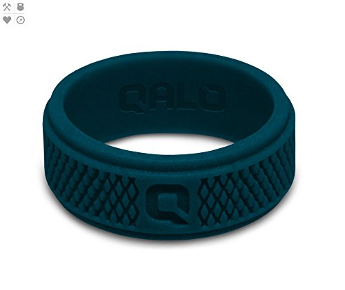 QALO Men's Deep Blue Crosshatch Q2X Silicone Ring Size 12