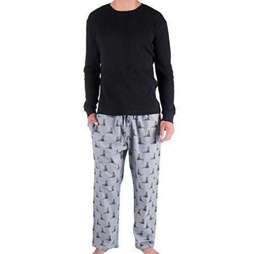 Dog Woolrich (Woolrich. Mens 2 Piece Sleep Set (XX-Large, Black/Dog Print))