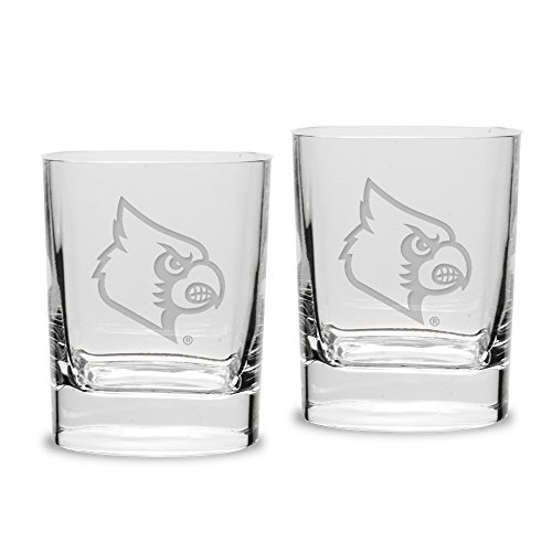 NCAA Louisville Cardinals Adult Set of 2 - 14 oz Square Double Old Fashion Glasses Deep Etched Engraved, One Size, ()