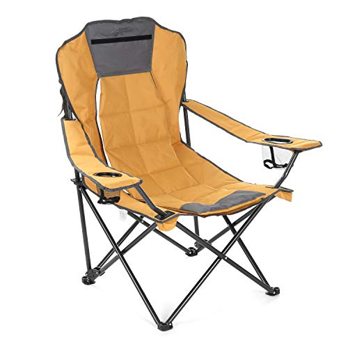 ARROWHEAD OUTDOOR Portable Folding Hybrid 2-in1 Camping Chair, Adjustable Vent & Padding, Cup Holder & Storage Pouch, Heavy-Duty, Oversize, Supports 300lbs, Includes Bag, USA-Based Support