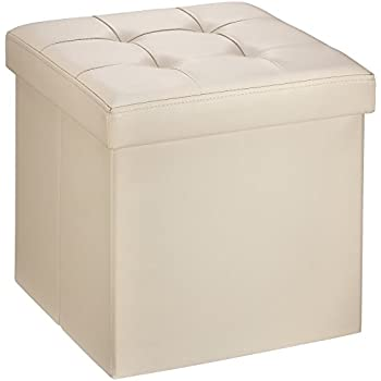 Ollieroo Faux Leather Folding Storage Ottoman Bench Seat Foot Rest Stool Coffee Table (15''X15''X15'' Beige)