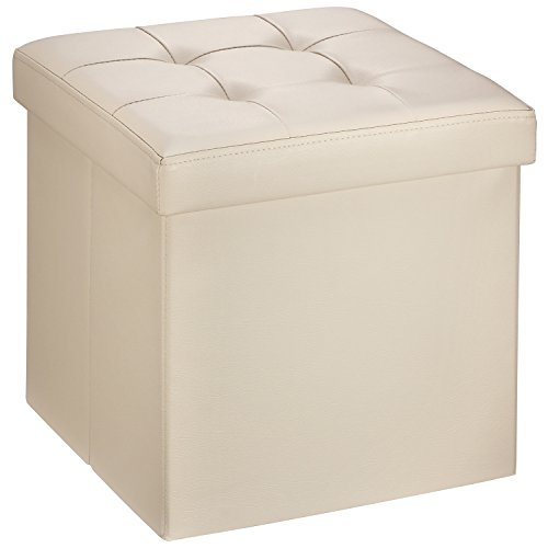 "Ollieroo Faux Leather Folding Storage Ottoman Bench Seat Foot Rest Stool Coffee Table (15""X15""X15"" Beige)"