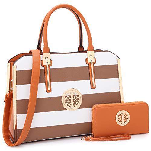 Women Purses and Handbags Stylish Ladies Crossbody Designer Satchel Medium Shoulder Bag Cute Tote (7555-Coffee/White)