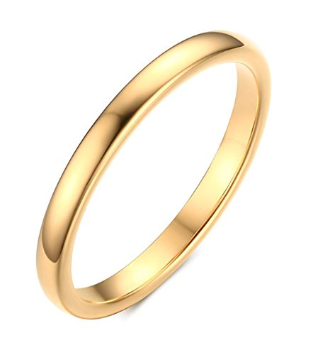 VNOX 2mm Women's Tungsten Carbide Plain Band Wedding Ring,Gold Plated Tone,Size 10