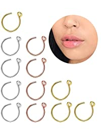 Subiceto 12 Pcs Surgical Steel Fake Nose Hoop Ring Faux Clip On Nose Ring Set Body Piercing Jewelry
