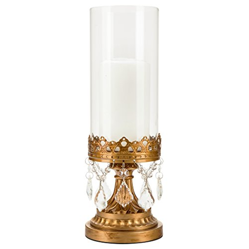 Amalfi Decor Antique Gold Metal Candle Holder with Glass Hurricane Vase, Crystal Draped Pillar Stand Accent Display