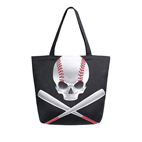 SUABO Baseball Skull Canvas Tote Bag Large Women Casual Shoulder Bag Handbag, Reusable Shopping Grocery Bag for Outdoors