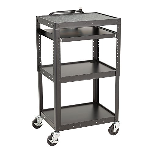 Norwood Commercial Furniture Adjustable Height Metal AV Cart with Electric Power & Sliding Tray, NOR-GNO1009-PK-SO by Norwood Commercial Furniture