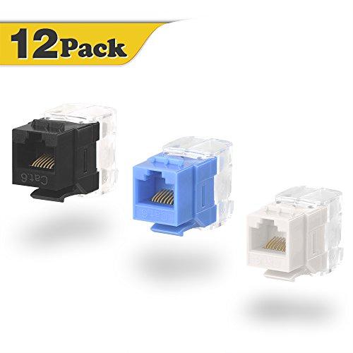 VCE 12-PACK Multi-Color Cat6 RJ45 Punch-Down Keystone Jack Ethernet Module Network Coupler