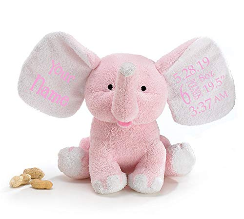 Personalized Newborn Baby Soft and Cuddly Blue Baby's First Elephant Keepsake Buddy with Free Name and Birth Day Information Plush Stuffed Animal Toy - 8 Inches -
