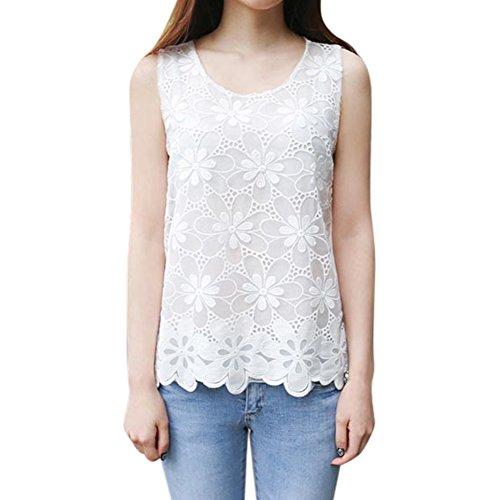 Forart Women Plus Size Lace Floral Sleeveless Crochet Vest Tank Top Shirt Camisole Blouse (Crochet Trim Cami)