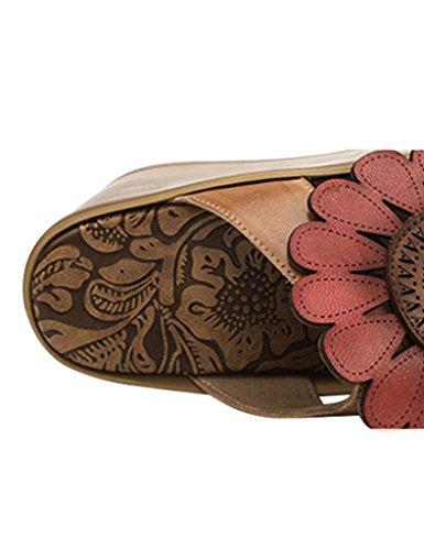Youlee Damen Große Blume Leder Schuhen mit hohen Absätzen Dicke Sohle Schuhe Rot