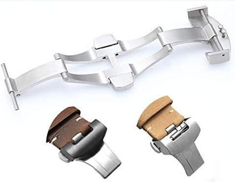 プッシュ式Dバックル 20 mm 22mm 観音開きタイプ尾錠 腕時計 革 ベルト 用ステンレス仕上げ 交換用 バックル バネ棒/バネ棒はずし付 (22mm)