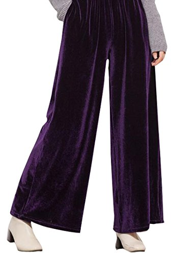 ARTFFEL Womens Casual Solid High Rise Velvet Wide Leg Palazzo Pants Purple (Pants Purple Velvet)