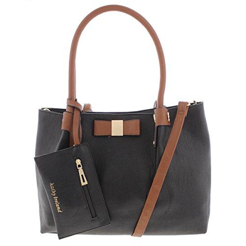 Kathy Ireland Womens Faux Leather Bow Satchel Handbag Black Medium