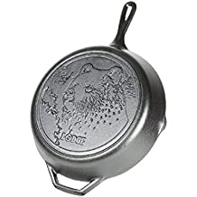 Lodge Wildlife Series - 12 Inch Seasoned Cast Iron Skillet with Bear Scene and Assist Handle
