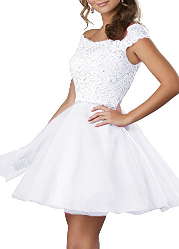 Beauty Bridal Girls' Off The Shoulder Homecoming Dresses Beaded Lace Tulle Prom Party Dress S082 (8,White)