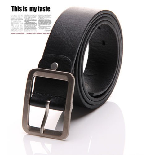 New Men's Casual Dress Faux Leather Belt Buckle Waist Strap Belts, 100% Brand new & high quality(Bkack) (Banana Republic Black Linen)
