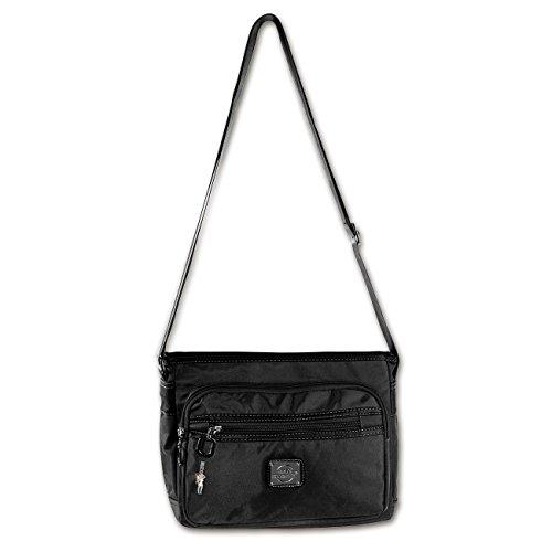 BAG STREET modische Tasche Damentasche Schultertasche Clutch Abendtasche Shopper Bag Schwarz Nylon- by Beauty-Butterfly24