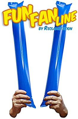 Fun Fan Line® - Pack 60 Pares de Aplaudidores hinchables de plástico. Artículos de Fiesta y animación. Palos cotillón Ideales para fútbol, Fiestas, ...