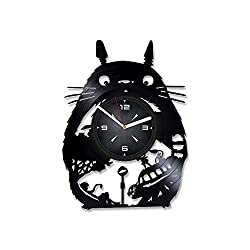 Studio Ghibli My Neighbor Totoro Vinyl Record Wall Clock. Decor for Bedroom, Living Room, Kids Room. Gift for Him or Her. Christmas, Birthday, Holiday, Housewarming Present.