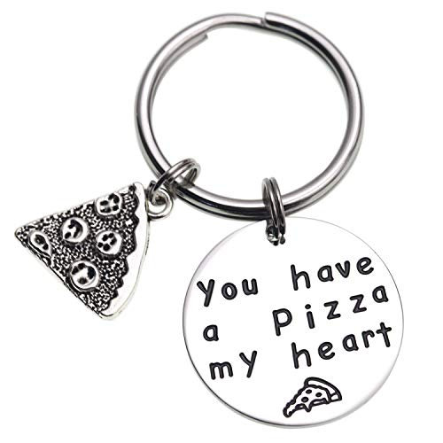 LParkin You Have a Pizza My Heart Anniversary Keychain Pizza Keychain Boyfriend Husband Gift Groom Gift Gifts for Him Pizza Lover (Keychain)