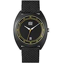 Roue Cal Two Watch, 1930s Racing Style, 41.5mm Sand Blasted Stainless Steel Black PVD case, Silicone + Nylon Front/Leather Back, Sapphire Crystal with Anti-Reflective Treatment Glass