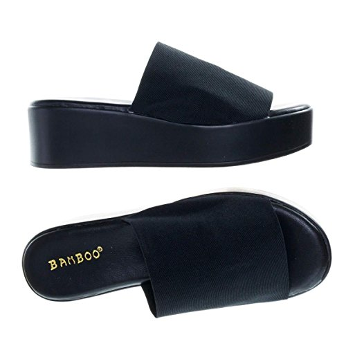 Women's Slinky Platform Sandal Thick Heel Stretch Fabric Slide On Open Toe (8, Black)