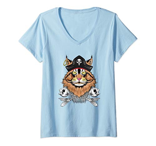 Womens Cat Pirate Costume SHIRT Maine Coon Cat lover Gift Women V-Neck T-Shirt